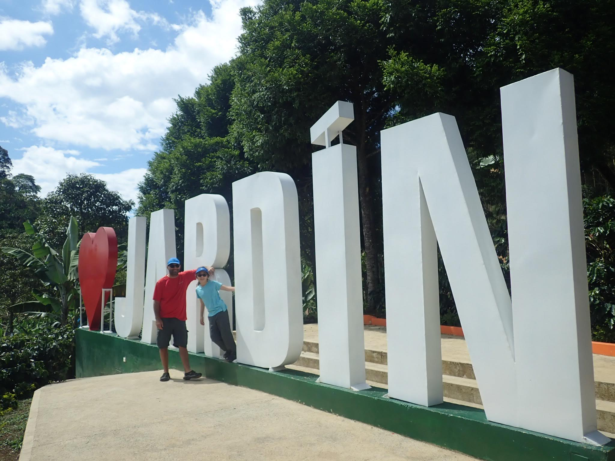 Daniela and Joe at the Jardin sign in Colombia