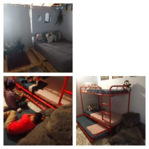 Three pictures. Top left is the master bedroom with queen bed. Lower left Mateo sleeping on a giant bear with Daniela and trundle bed in the background. Bottom right is a view of the bunk bed and trundle with the bear in the lower corner.