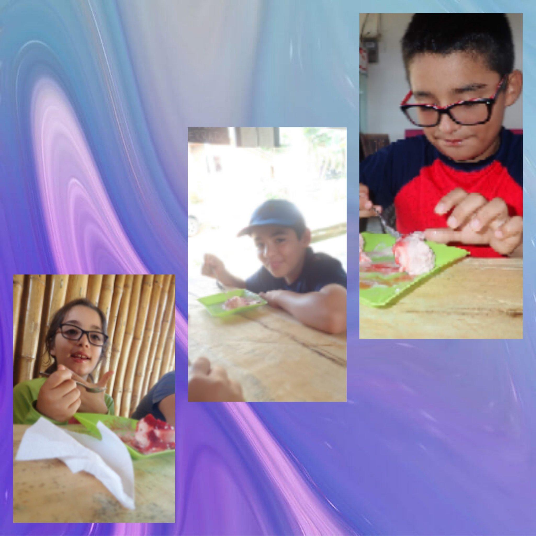 Marco, Mateo and Daniela eating ice cream at La Tarteria Minca Colombia